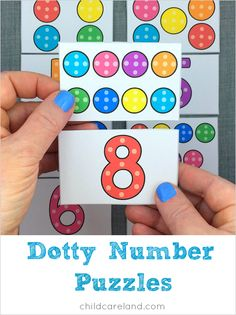 The free membership printable this week is dotty number puzzles which is great for math and number recognition. I printed the patterns on cardstock paper ... cut them out and laminated them. I then cu