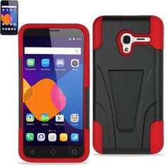 Reiko Silicon Case+Protector Cover For Alcatel Onetouch Pixi 3-4G (4.5inch) New Type Kickstand Red Black