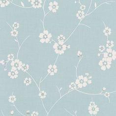 Graham & Brown Blossom Wallpaper Duck Egg Blue / white - Graham & Brown from I love wallpaper UK