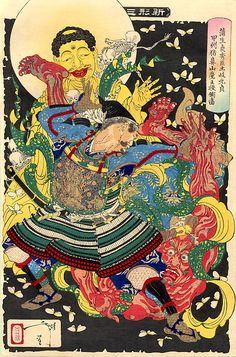 月岡芳年渾身の狂気に満ちた仁王像投げの図の謎 - 妖怪うぃき的妖怪図鑑