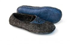 Felted wool slippers Handmade natural wool and leather shoes Gray blue shoes…