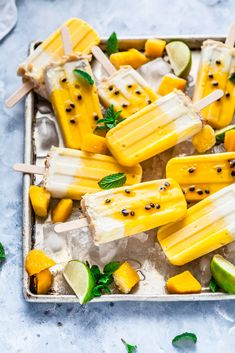 Mango, Passionfruit & Coconut Macadamia Popsicle's {Gluten & Dairy Free) — The Whimsical Wife Homemade Fruit Popsicles, Banana Popsicles, Smoothie Popsicles, Healthy Popsicles, Popsicle Recipe For Kids, Healthy Popsicle Recipes, Healthy Desserts, Summer Dessert Recipes, Party Recipes