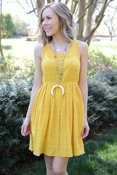 Hem & Thread Yellow Fit and Flare Dress