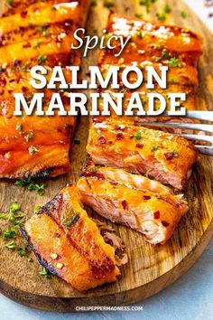Spicy Salmon Marinade Sauce For Grilled Salmon, Best Salmon Marinade, Marinated Salmon, Grilled Salmon Recipes, Spicy Recipes, Seafood Recipes, Dinner Recipes, Tilapia Recipes, Grilled Fish