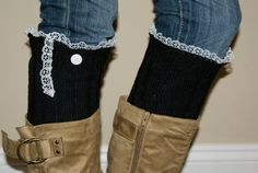 Black and Lace Boot Sock Leg Warmers by SimplySweetbySarah on Etsy