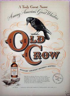Old Crow Whiskey Wagon Sled Sleigh Horse Christmas (1948)