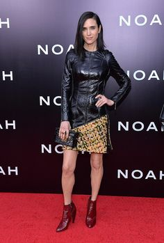 Jennifer Connelly received the honor of wearing the first piece from Louis Vuitton's Fall 2014 collection when she hit the Noah red carpet in a mixed material design and burgundy leather boots from the collection.