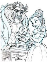Belle and the beast with cogsworth