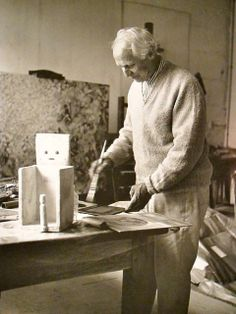 Max Ernst in his studio Huismes, France 1956