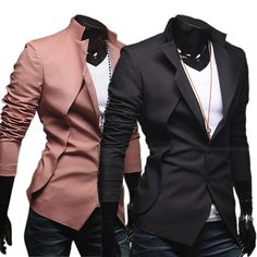 Mens Fashion Casual Slim Fit Two Button Blazer Coat Jacket