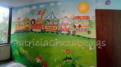 Patricia Cruzat Artesania y Color: Mural Infantil Tren con Animales y Más...