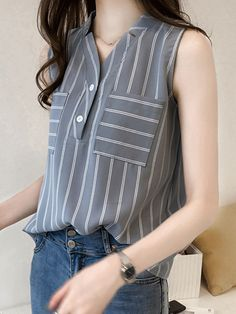 V Neck Patchwork Stripes Blouses – wanokitty teenager shirts top shirt custom shirts holiday t shirts lace outfits blouses fall casual blouse jeans blouse outfit tunic outfit Cheap Blouses, Shirt Blouses, Blouses For Women, Short Sleeve Blouse, Sleeveless Blouse, Straight Cut Jeans, Collar Blouse, Blouse Outfit, Blouse Online