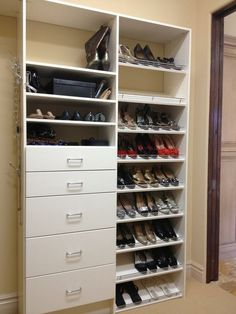 combination storage for shoes plus a added bank of drawers for extra storage