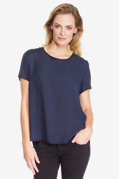 Contrast Piping Sheer Top