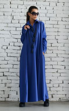 OFF Blue Maxi Dress/Plus Size Kaftan/Long Sleeve Casual Dress/Oversize Shirt Dress/Blue Loose Tunic Dress/Evening Blue Dress Dress Plus Size, Plus Size Maxi Dresses, Blue Dresses, Dresses With Sleeves, Pink Maxi, Blue Maxi, Boho Style Dresses, Fashion Dresses, Women's Fashion