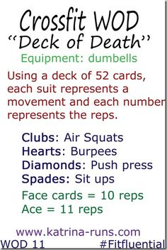 Crossfit Deck of Death-52 cards (Add Jokers for 10 pull ups) flip 3 cards and shuffle into deck and break for 30-60 secs. when pulled.