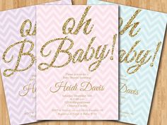 Baby Shower Invitation. Oh Baby. Gold Glitter. Pink by arthomer