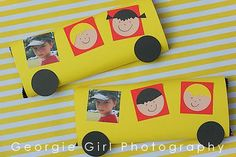 Love and Lollipops: Teacher Gift {Little Yellow Bus} - big Cadbury slabs, wrapped and decorated them to create these American style yellow school buses.