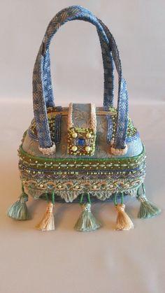 Mary Frances Handbag In Soft Greens Blues, Peridot And Ivory Satchel.