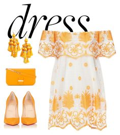 """Off-Shoulder Dresses #2"" by hideous ❤ liked on Polyvore featuring Miguelina, Kate Spade, Christian Louboutin, See by Chloé, Summer, Spring, contest, orange and offshoulderdress"