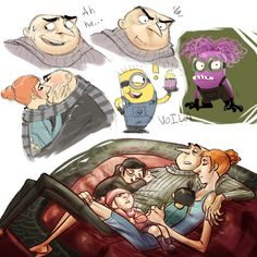 Despicable sketchdump 2 by Skellagirl on DeviantArt Disney And Dreamworks, Disney Pixar, Funny Disney, Disney Memes, Gru And Lucy, Despicable Me Gru, Happy Birthday Minions, Cartoon Video Games, Super Funny Memes