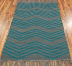Jeff Banks - Kilim Zig Zag Grey / Teal Rugs