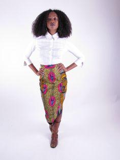 African+Print+Skirt+Mid+Length+Skirt++When+Doves+by+tribalgroove,+$70.00