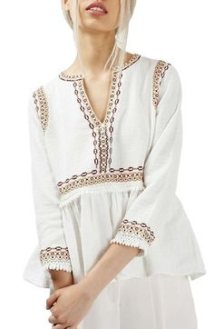 Topshop Embroidered Peplum Peasant Blouse available at #Nordstrom