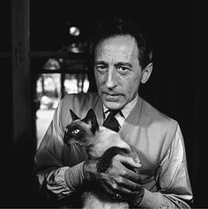 Jean Cocteau, 1950. A photo of the French author holding a cat called Madeleine