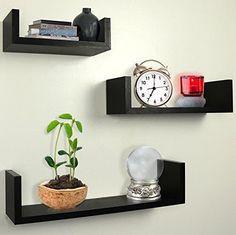 Greenco Floating Shelves Set of 3 U Shelf Espresso Cases Walls Display Storage #Greenco