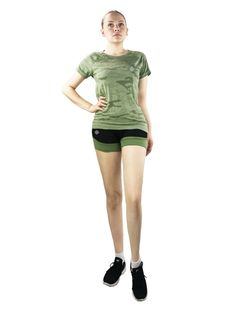 Merkki Athletic Moisture Wicking Fast Dry Yoga Running Top (Medium, Army). Moisture-wicking & Quick-Dry. Athletic/performance top perfect for yoga, running, and other outdoor activities. Imported; 55% polyester, 45% nylon. Hand wash preferred. Machine washable.