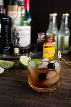 Dark and Stormy is a cocktail made with black rum and ginger beer and is served over ice.