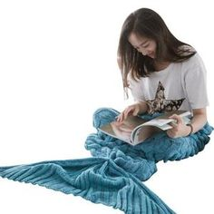 Warm Mermaid Style Cover Up blanket Super great gift Adults Children Knitted Mermaid Tail Blanket, Mermaid Blanket, Holly Willoughby Bedding, Plaid Bedding, Mermaid Tails, Blanket Cover, Light Teal, Sleeping Bag, Bed Covers