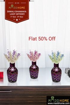 Get these Exclusive Beauties at Flat 50% Off Now. Order Now: https://www.maddhome.com/silver-on-purple-glass-vase.html  #MaddHome #HomeDecor #Vase #shoponline #Home #Decor