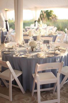 Use light blue instead of navy blue or white table cloths Blue Centerpieces, Wedding Centerpieces, Wedding Decorations, Table Decorations, Steel Blue Weddings, Dusty Blue Weddings, April Wedding, Our Wedding, Dream Wedding