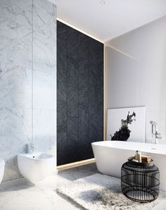 Elegant and luxury bathroom design ideas for a unique home decor. See more clicking on the image. Bad Inspiration, Bathroom Inspiration, Bathroom Ideas, Bathroom Layout, Bathroom Organization, Interior Inspiration, White Marble Bathrooms, Bad Styling, Bathroom Design Luxury