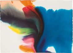 Paul Jenkins (American, 1923-2012), Phenomena Ambiance of Blue, 1982. Watercolor on paper, 79 x 110 cm
