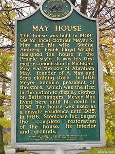 Plaque describing Meyer May house in Grand Rapids, Michigan. Frank Lloyd Wright design built in 1908.