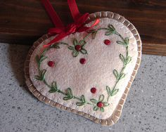 Wool Felt Embroidered Heart Sugar Cookie Ornament by FHGoldDesigns, $7.00