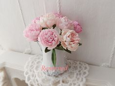 Reserved listing. Dollhouse shabby peonies and  by monaliszadesign