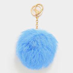 Large Rabbit Fur Pom Pom Keychain, Key Ring Bag Pendant Accessory - Pastel Blue