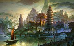 L'illustrateur chinois Ming Fan est un véritable expert en environnements, et plus précisément dans l'univers de la fantasy. Chacune de ses oeuvres dégage une atmosphère magique et une impression de démesure saisissante. Sa gestion des couleurs est également superbe. Pour en voir plus, visitez son blog et on CGHub.