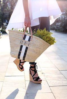Straw monogrammed bag