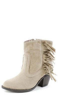 dcd7b5b9914 Buy Side Fringe Cowboy Booties TAUPE These cowboy-inspired