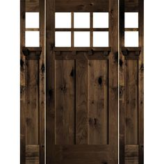 Krosswood Doors 64 in. x 80 in. Craftsman Right-Hand Clear Glass Knotty Alder Wood RC Stain Single Prehung Front Door/Sidelites, Red Chestnut Stain Brown Front Doors, Wood Front Doors, Front Door Colors, Double Doors Exterior, Wood Exterior Door, Red Mahogany Stain, Craftsman Door, Craftsman Exterior, Cottage Exterior