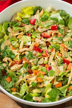 Nutritious Snack Tips For Equally Young Ones And Adults Thai Chicken Salad With Orange Peanut Ginger Dressing Cooking Classy Pollo Thai, Asian Recipes, Healthy Recipes, Thai Recipes, Healthy Breakfasts, Healthy Snacks, Thai Chicken Salad, Grilled Chicken, Easy Chicken Dinner Recipes