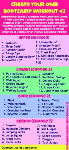I did this create your own bootcamp 3 hours ago. My legs are like jelly - going to be sore tomorrow! workout plans, workouts #workout #fitness