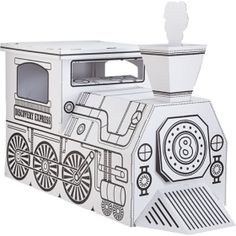 cardboard train to color,  $30...perfect indoor party activity if it rains