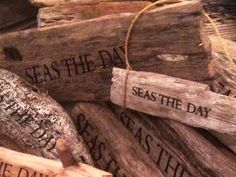 signs with sayings made from driftwood..carved, burnished, wrapped in jute..completely-coastal.com