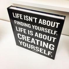 La vita non è trovare te stesso.   La vita è creare te stesso. [Life isn't about finding yourself.   Life is about creating yourself.] Letter Board, Finding Yourself, Lettering, Drawing Letters, Brush Lettering